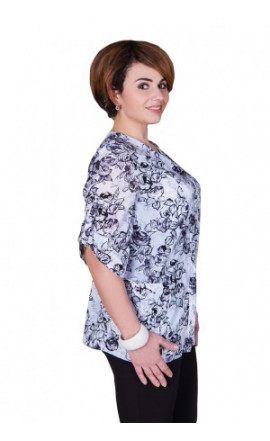 Блуза бело-серая