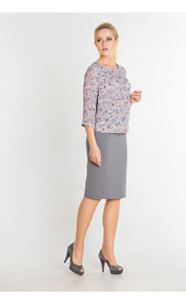 Блуза серо-розовая
