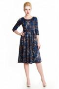 Платье сине-коричневое