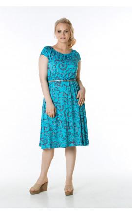 Платье бирюзово-бежевое