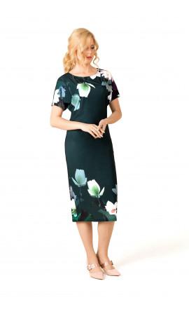 Платье зеленое купон лилии