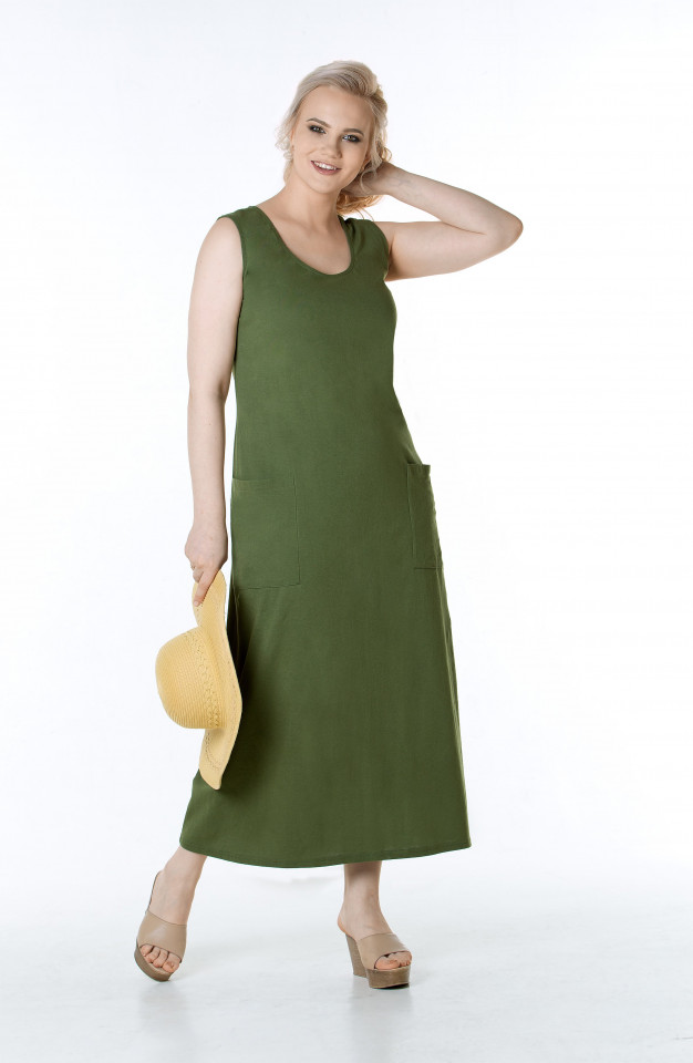 Сарафан темно-оливковый
