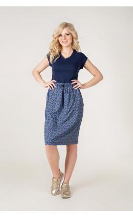 Платье серо-синее