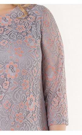 Платье серо-розовое
